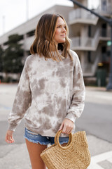 Olive - Oversized Tie-Dye Pullover from Dress Up