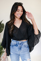Black - Cropped Statement Sleeve Blouse