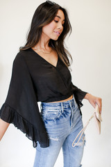 Black - Cropped Statement Sleeve Blouse from Dress Up