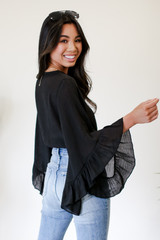 Cropped Statement Sleeve Blouse Back View