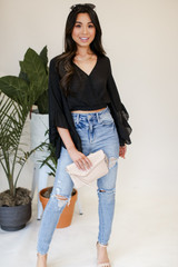 Cropped Statement Sleeve Blouse Front View with jeans