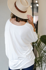 Oversized Knit Top in White Back View