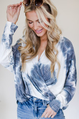 Black - Ribbed Tie-Dye Surplice Top from Dress Up
