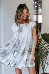 Olive - Tie-Dye Tiered Babydoll Dress from Dress Up