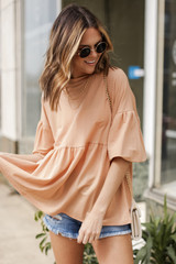 Taupe - Puff Sleeve Babydoll Top from Dress Up