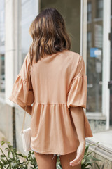 Puff Sleeve Babydoll Top Back View