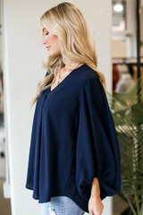 Balloon Sleeve V-Neck Blouse Side View