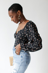 Floral Balloon Sleeve Top in Black Side View