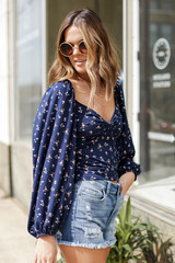 Floral Balloon Sleeve Top in Navy Side View