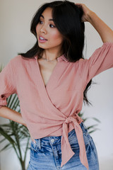 Blush - Model wearing a Linen Tie-Front Blouse with jeans