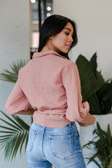 Linen Tie-Front Blouse in Blush Back View