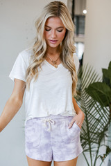 Tie-Dye Lounge Shorts in Lavender Front View