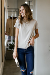 Taupe - Model wearing an Ultra Soft Basic Tee