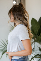 Ultra Soft Basic Tee in Heather Grey Side View
