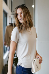 Ultra Soft Basic Tee in Taupe Side View