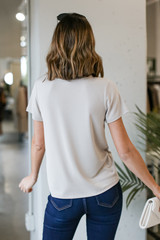 Ultra Soft Basic Tee in Taupe Back View