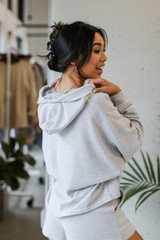 Heather Grey - Dress Up model wearing an Oversized Brushed Knit Hoodie