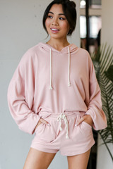 Blush - Oversized Brushed Knit Hoodie Front View