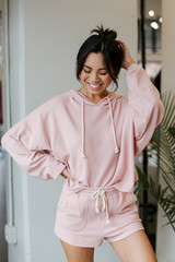 Blush - Model wearing an Oversized Brushed Knit Hoodie with the matching shorts