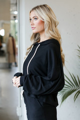 Oversized Brushed Knit Hoodie in Black Side View