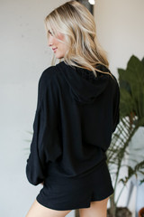 Oversized Brushed Knit Hoodie in Black Back View