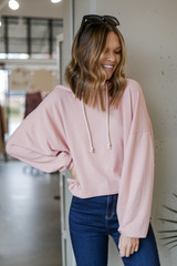 Oversized Brushed Knit Hoodie in Blush Front View