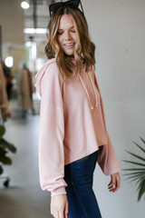 Oversized Brushed Knit Hoodie in Blush Side View