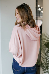 Oversized Brushed Knit Hoodie in Blush Back View