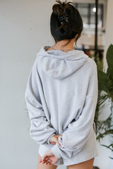 Oversized Brushed Knit Hoodie in Heather Grey Back View