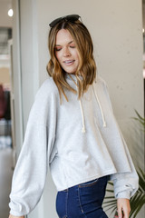 Oversized Brushed Knit Hoodie in Heather Grey Side View