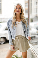 Sage - Striped Lounge Shorts from Dress Up