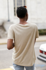 Striped Tee in Sage Back View
