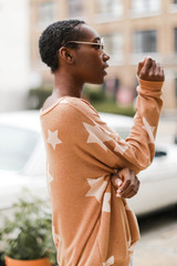 Oversized Star Pullover in Rust Side View