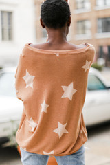 Oversized Star Pullover in Rust Back View