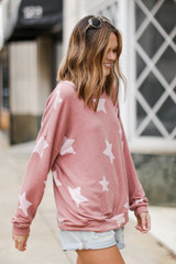Oversized Star Pullover in Mauve Side View