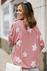 Oversized Star Pullover in Mauve Back View