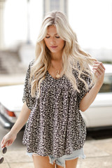 Black - Floral Babydoll Blouse from Dress Up