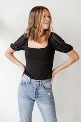 Mesh Puff Sleeve Top Front View