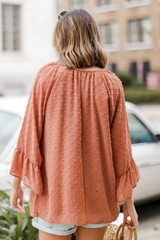 Swiss Dot Blouse in Rust Back View