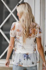 Mesh Floral Tiered Top Back View