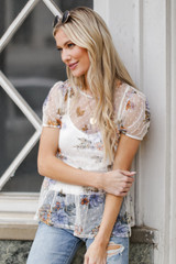 Dress Up model wearing a Mesh Floral Tiered Top