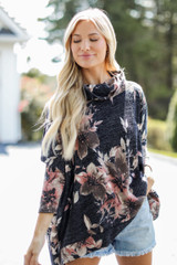 Navy - Oversized Floral Knit Top from Dress Up