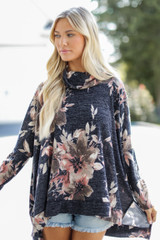 Navy - Oversized Floral Knit Top Front View