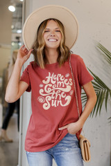 Model wearing the Here Comes the Sun Graphic Tee