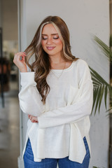 Oversized Knit Sweater in Ivory Front View