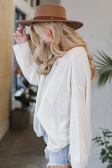 Oversized Knit Sweater in Ivory Side View