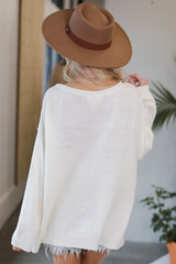 Oversized Knit Sweater in Ivory Back View