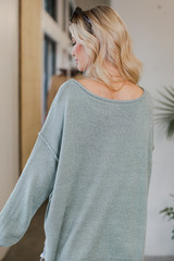 Oversized Knit Sweater in Sage Back View