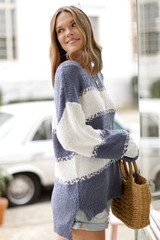 Oversized Striped Knit Sweater Side View