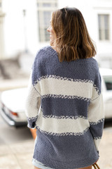 Oversized Striped Knit Sweater Back View